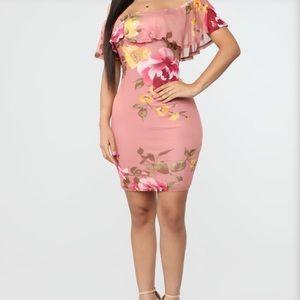 Fashion Nova Pink Floral Dress! **Never Worn**